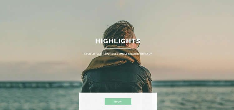 Highlights one-page website template