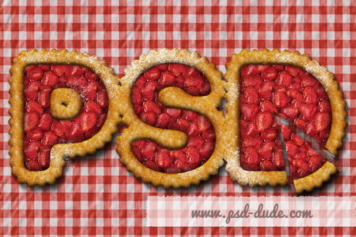 Strawberry Fruit Pie Text Effect Photoshop Tutorial