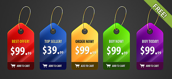 Free PSD Shiny Price Badges