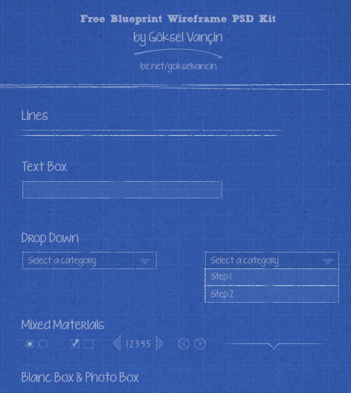 Free Blueprint Wireframe PSD Kit