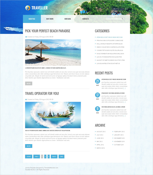 Free Joomla Travel Template Read more at: http://www.beautifullife.info/web-design/15-best-free-travel-templates/