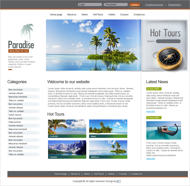 Free Paradise Website Read more at: http://www.beautifullife.info/web-design/15-best-free-travel-templates/