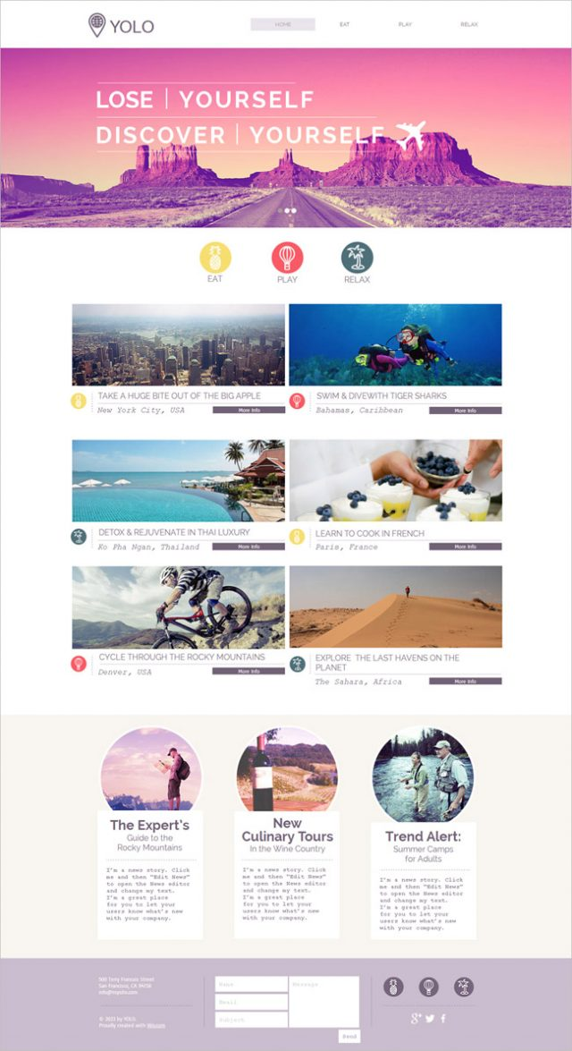 Free Tour Operator HTML5 Website