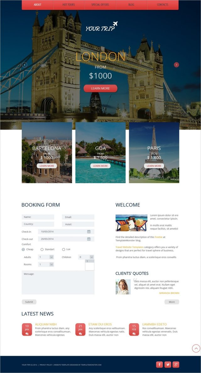 Free Travel Agency HTML5 Theme