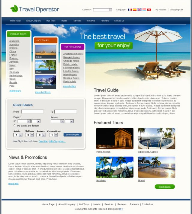 Free Travel Operator Website Template Read more at: http://www.beautifullife.info/web-design/15-best-free-travel-templates/