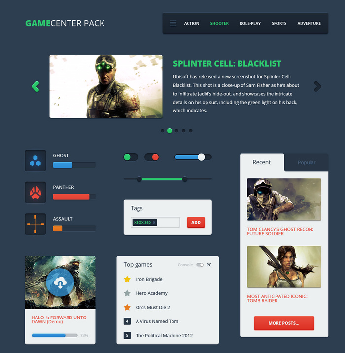 game ui psd template