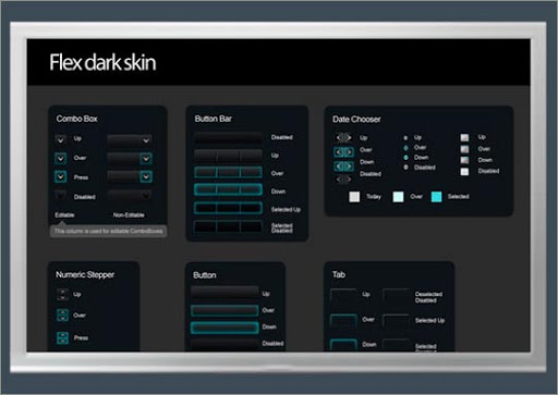Marvelous Flex Darkskin PSD UI Useful Free Web UI Elements PSD Packs