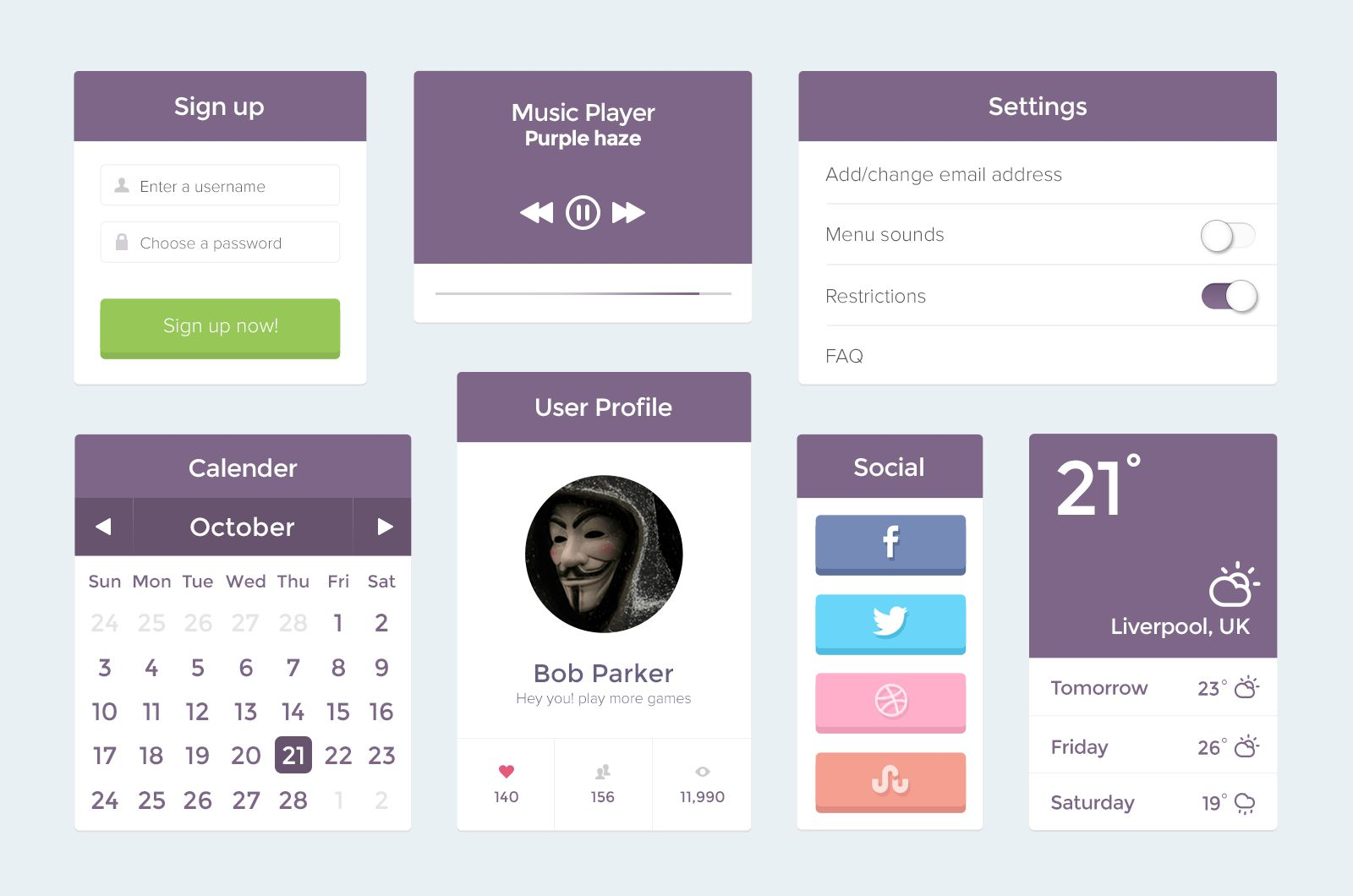 Free ui psd in flat design