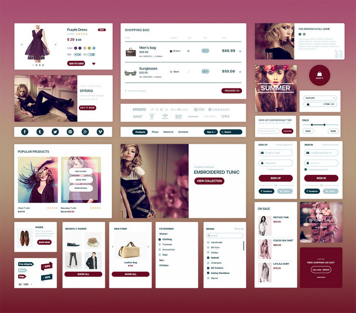 free web ui kit for ecommerce