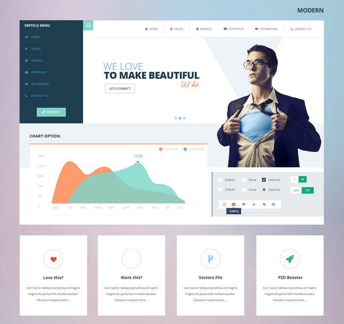 Modern web and dashboard UI Kit PSD