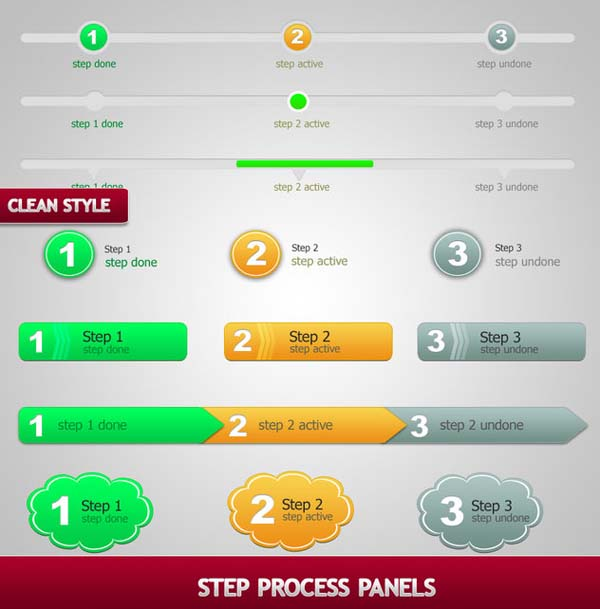 step process panels sets psd by bluex design100+ Free PSD Web UI Elements For Download