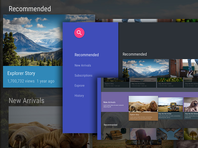 Android TV UI Kit for Sketch