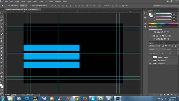 doing the front of the business card